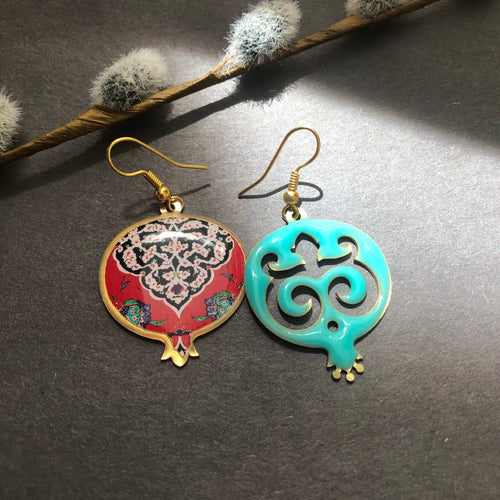Persian Earrings-Pomegranate Shaped Persian Earrings-: Persian Jewelry-Afra Art Gallery