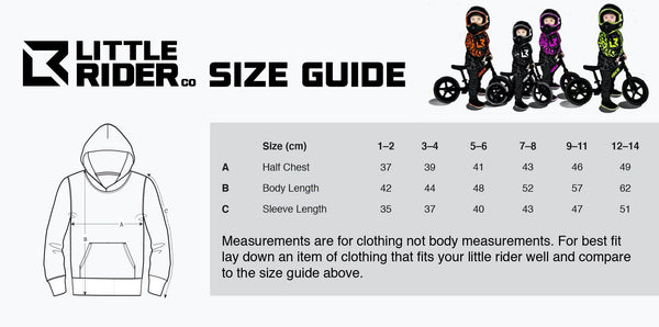 Little Rider Co Hoody Size Chart
