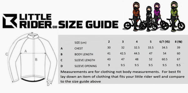 Little Rider Co bike jersey Sizes Chart
