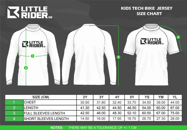 Little Rider kids bike jersey size chart