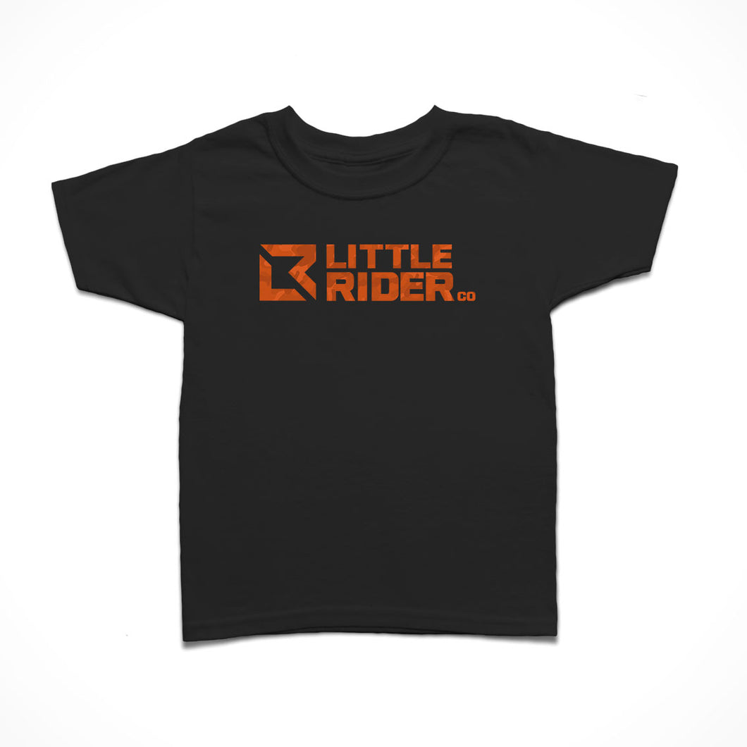 Little Rider Co Kids T-Shirt - Orange Blast Camo Logo - LIMITED EDITION