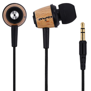 Awei ES - Q9 Wood Style 1.2m Cable Length In-ear Earphone for Mobile Phone Tablet PC