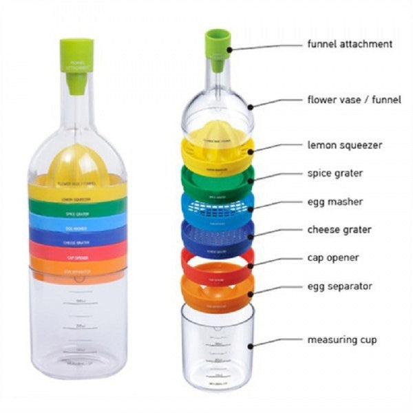 New Multi Functional 8 in 1 Kitchen Tool Set Multipurpose Kitchen Gadget Kitchen Tool Bottle Hot Sale