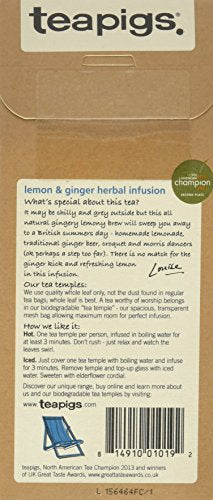 Teapigs Lemon & Ginger Tea  15 biodegradable tea temples