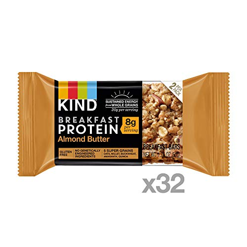 KIND Almond Butter Protein Breakfast Bars, 1.76oz, 32 Count