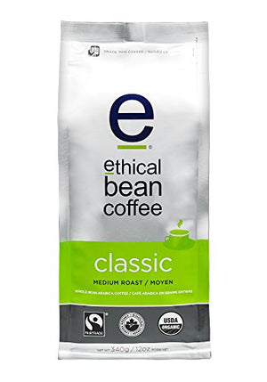 Ethical Bean Coffee Classic Medium Roast Coffee, Whole Bean  12 oz bag