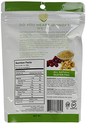 Heart Keenwah Cranberry Cashew Quinoa Clusters, 4 Ounce Bag (Pack of 3)