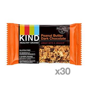 KIND Dark Chocolate Peanut Butter Granola Bars, 1.2 oz, 5 Count (6 Pack)