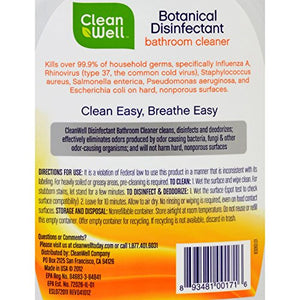 CleanWell Botanical Disinfectant Bathroom Cleaner, Citrus Scent  26 oz spray bottle