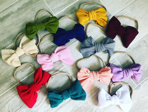 Nylon Band Headband With Bow