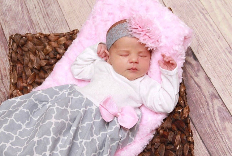 Gray Layette Gown & Headband