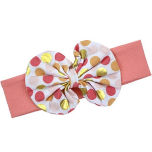 Peach/Gold Dot Bow Headband