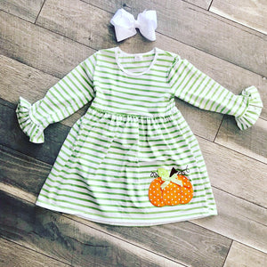 Green Striped Pumpkin Dress Size 8