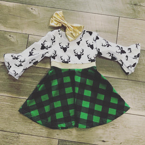 Plaid Reindeer Dress