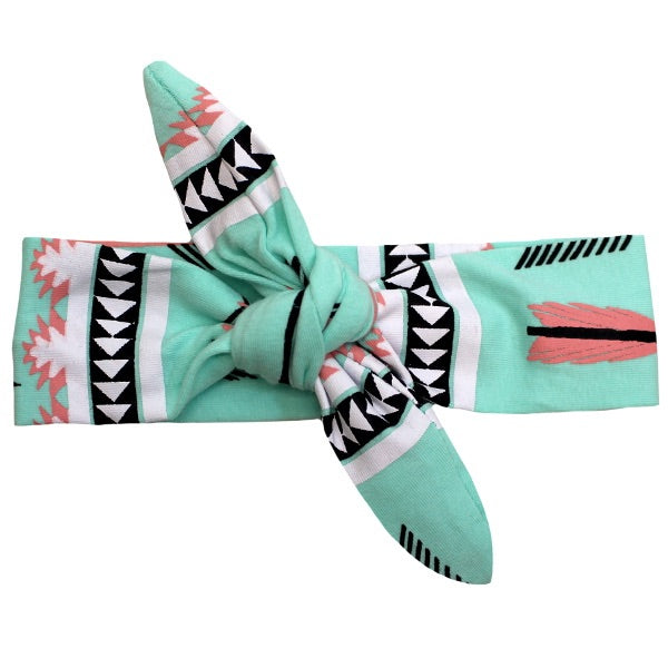 Mint Arrow Knot Headband