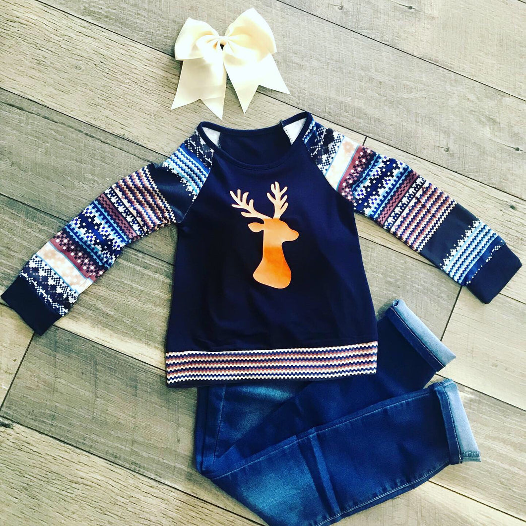 Navy Deer Shirt