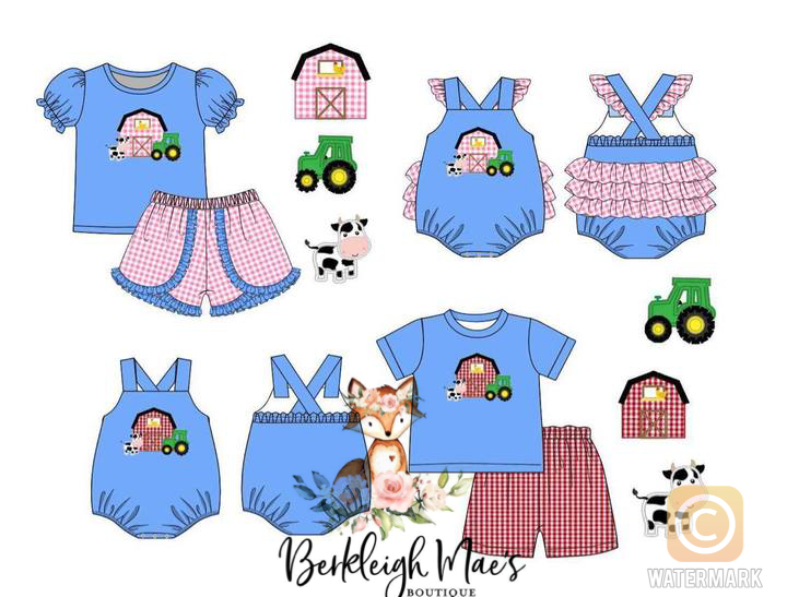 Girl Farm Appliqué Shorts Set