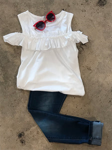 White Cold Shoulder Tank