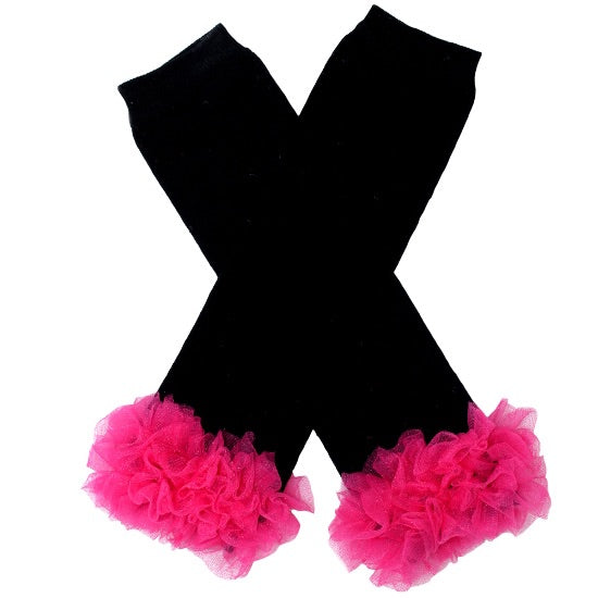 Black/Hot Pink Leg Warmers