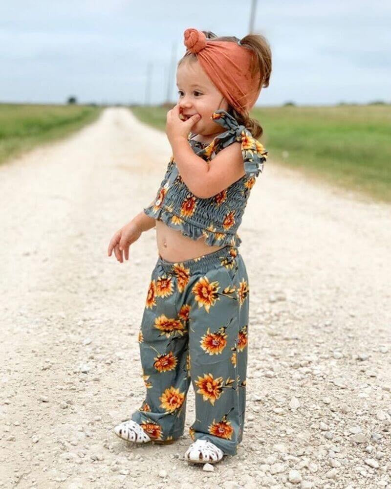 Sunflower Floral Pants Set