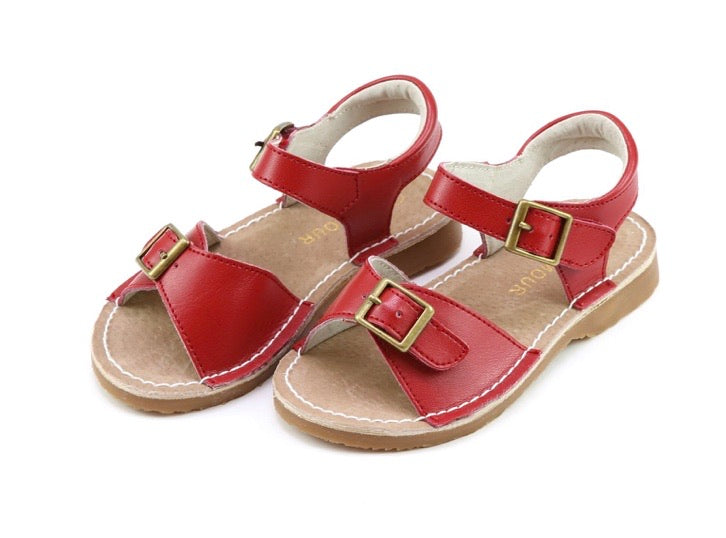 Olivia Leather Buckle Open Toe Sandal {multiple colors}