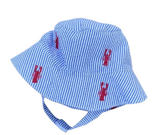 Seersucker Bucket Hat (lobsters)