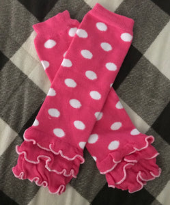 Pink/White Dot Leg Warmers