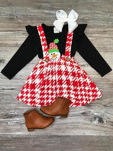 Snowman Red Houndstooth Suspender Skirt Outfit