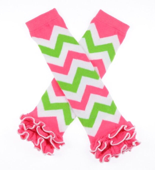 Pink/Lime/White Leg Warmers