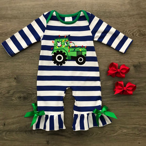 Tractor Christmas Romper