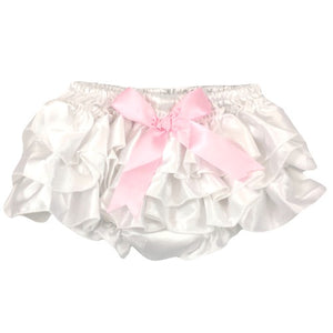 White W/Pink Bow Satin Bloomer
