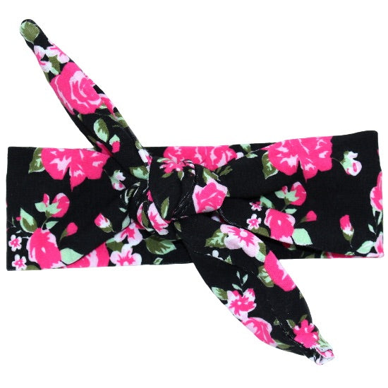 Black Floral Knot Headband