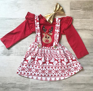 Reindeer Suspender Skirt Set
