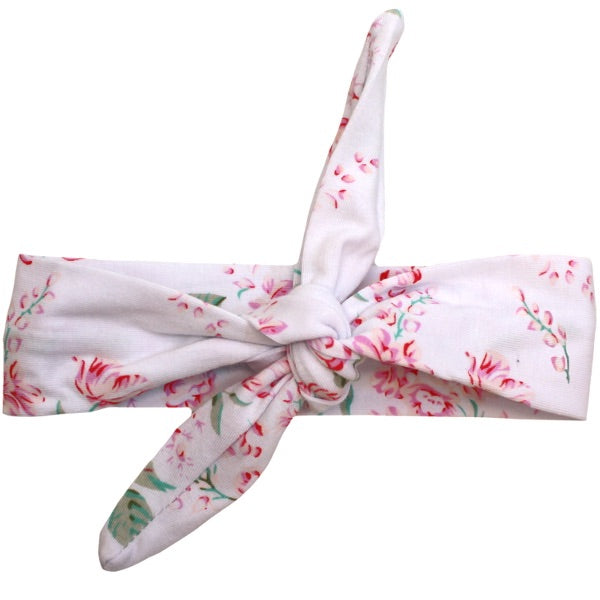 White Floral Knot Headband