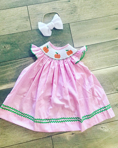 Smocked Pink Pumpkin Dress Size 24mo