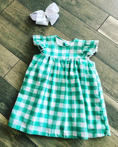 Hazel Posh Pickle Dress Mint Plaid Size 4T