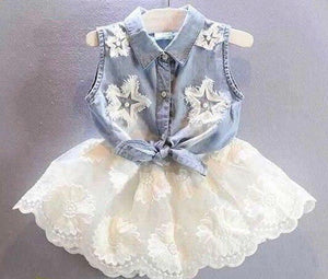 Girl's Fashion Lace 2PC Skirt Set