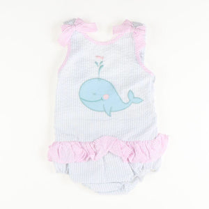 Whale Applique Seersucker Swimsuit