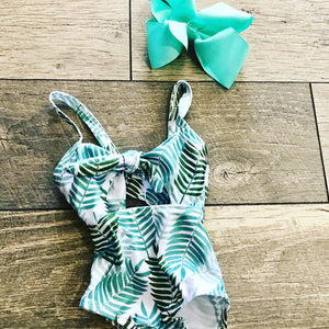 Retro Palm Leaf Swim Suit Size 0-3