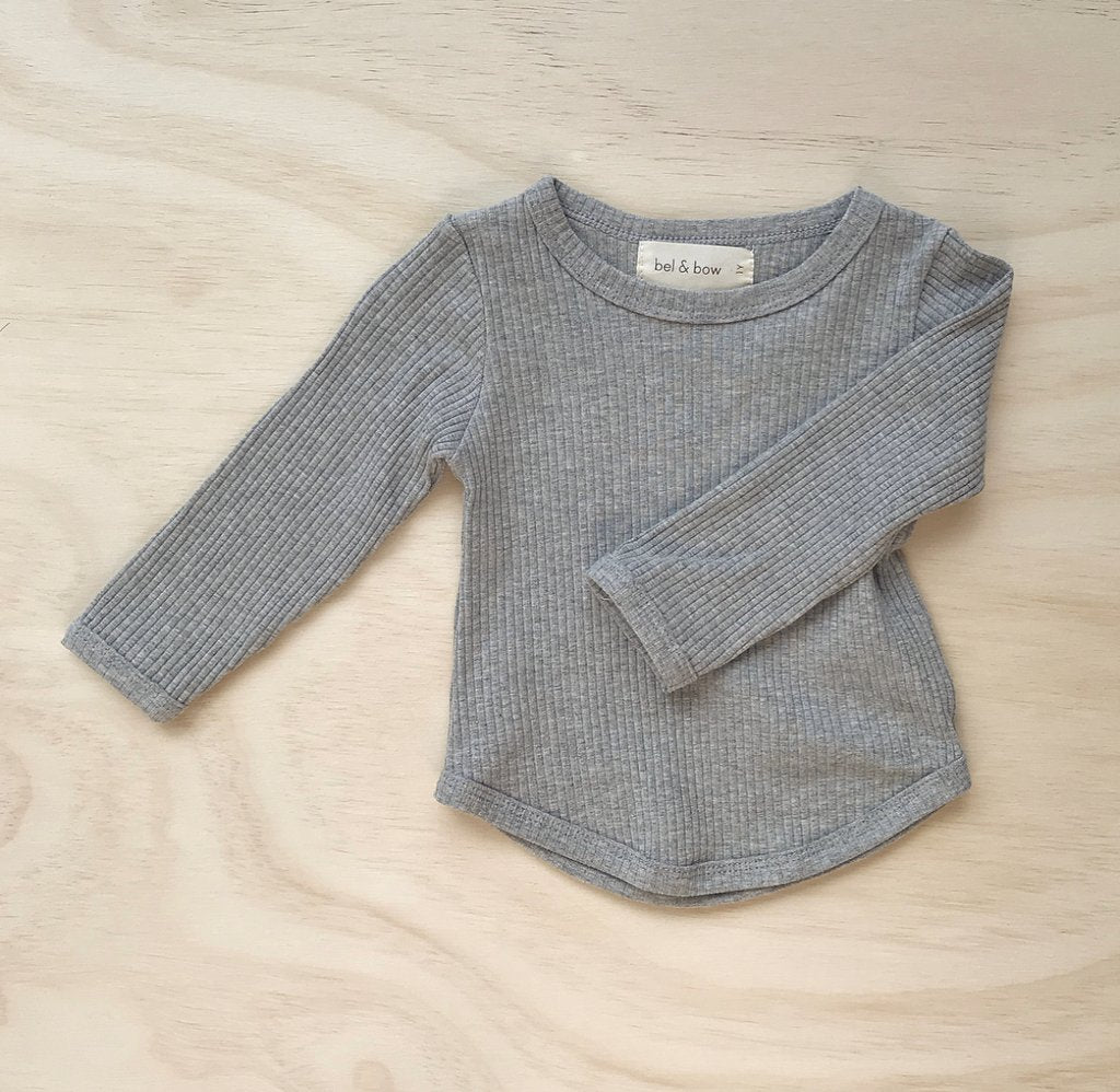 Ribbed Long Sleeve Top - Grey Marle