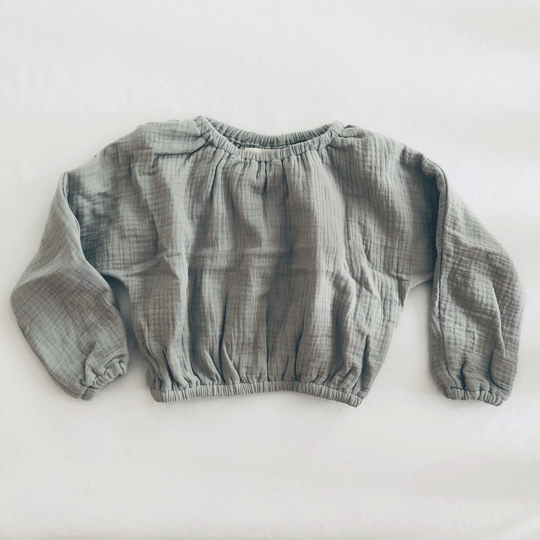 Casual Muslin Pullover - Muted Grey