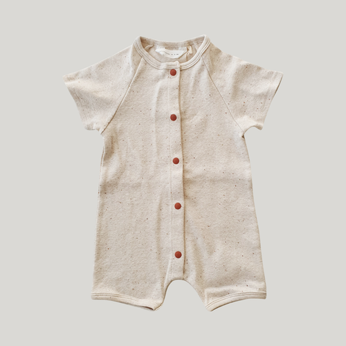Organic Short Sleeved Snap Romper - Cotton Speckled