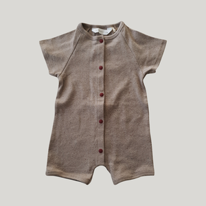 Organic Short Sleeved Snap Romper - Mushroom Speckled