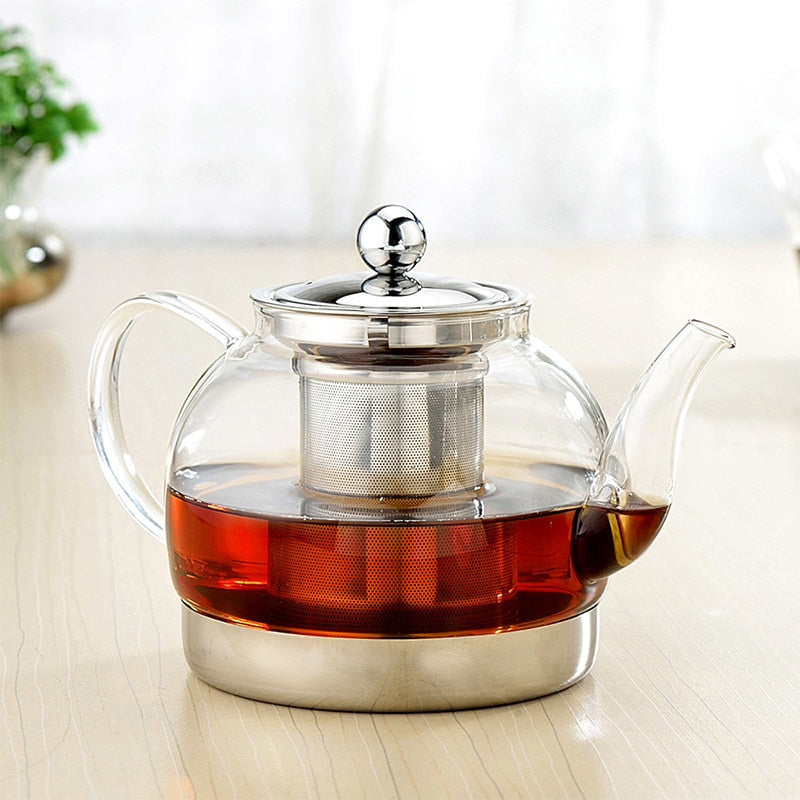 1200ML Heat-Resistant Glass Kettle Heating coffee pot Large Capacity Kettle Stainless Steel Filter Scented Tea Teapot Induction