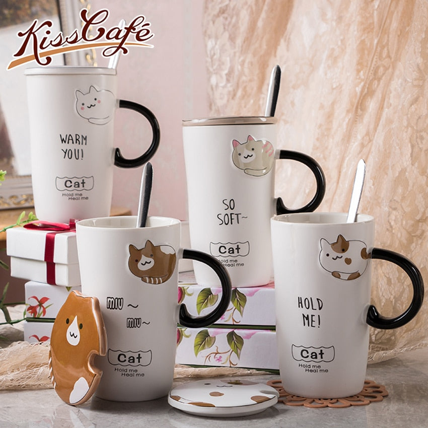 Creative Cartoon Cat Ceramic Coffee Tea Cup Heat-Resistant Embossed Cute Animal Milk Mug 450ml With Lid Handle Spoon Office Gift