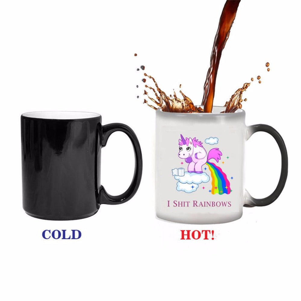 350ml Temperature Color Change Cup Mug Creative Unicorn Ceramic Tea Coffee Milk Chameleon Mugs Heat Sensitive Cup Novelty Gift