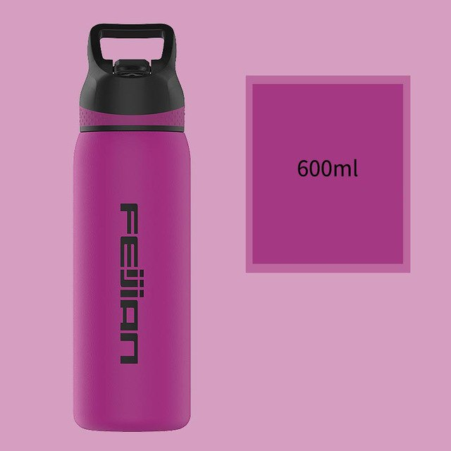 FEIJIAN Thermos Bottle with Straw Lid Wide Mouth Vacuum Insulated Double Wall 18/8 Stainless Steel Powder Coated BPA Free