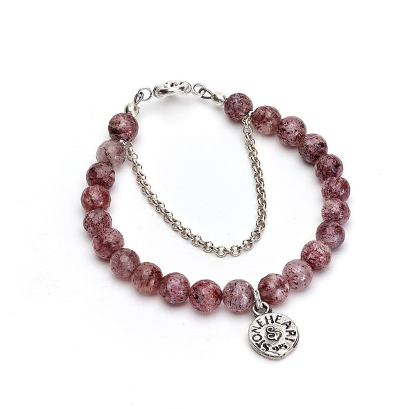 Strawberry Quartz Lucky Charm Bracelet