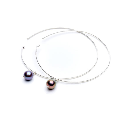 Floating Peacock Pearl Hoop
