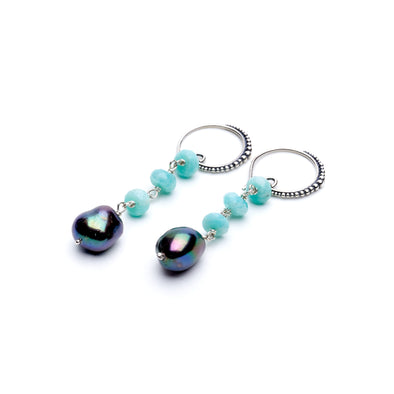 Tiered Peacock Pearl Earrings
